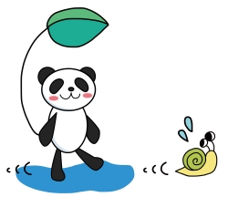 パンダとカタツムリ